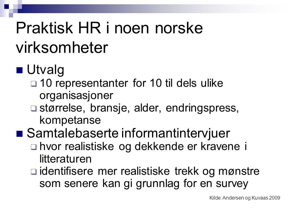 Praktisk HR i noen norske virksomheter  Utvalg  10 representanter for 10 til dels ulike organisasjoner  størrelse, bransje, alder, endringspress, k