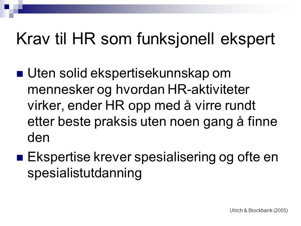 Krav til HR som funksjonell ekspert  Uten solid ekspertisekunnskap om mennesker og hvordan HR-aktiviteter virker, ender HR opp med å virre rundt ette