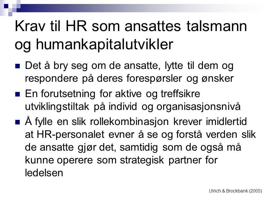 Krav til HR som ansattes talsmann og humankapitalutvikler  Det å bry seg om de ansatte, lytte til dem og respondere på deres forespørsler og ønsker 