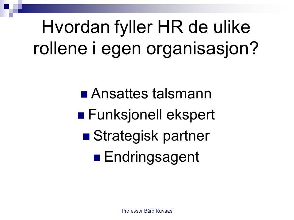 Hvordan fyller HR de ulike rollene i egen organisasjon?  Ansattes talsmann  Funksjonell ekspert  Strategisk partner  Endringsagent Professor Bård
