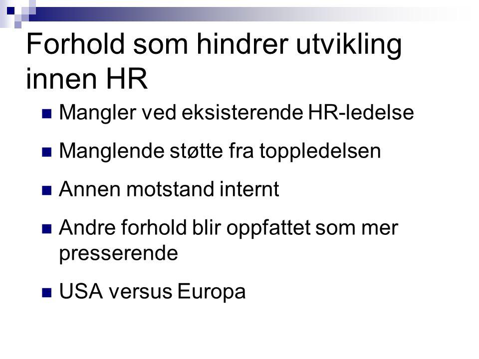 Forhold som hindrer utvikling innen HR  Mangler ved eksisterende HR-ledelse  Manglende støtte fra toppledelsen  Annen motstand internt  Andre forh