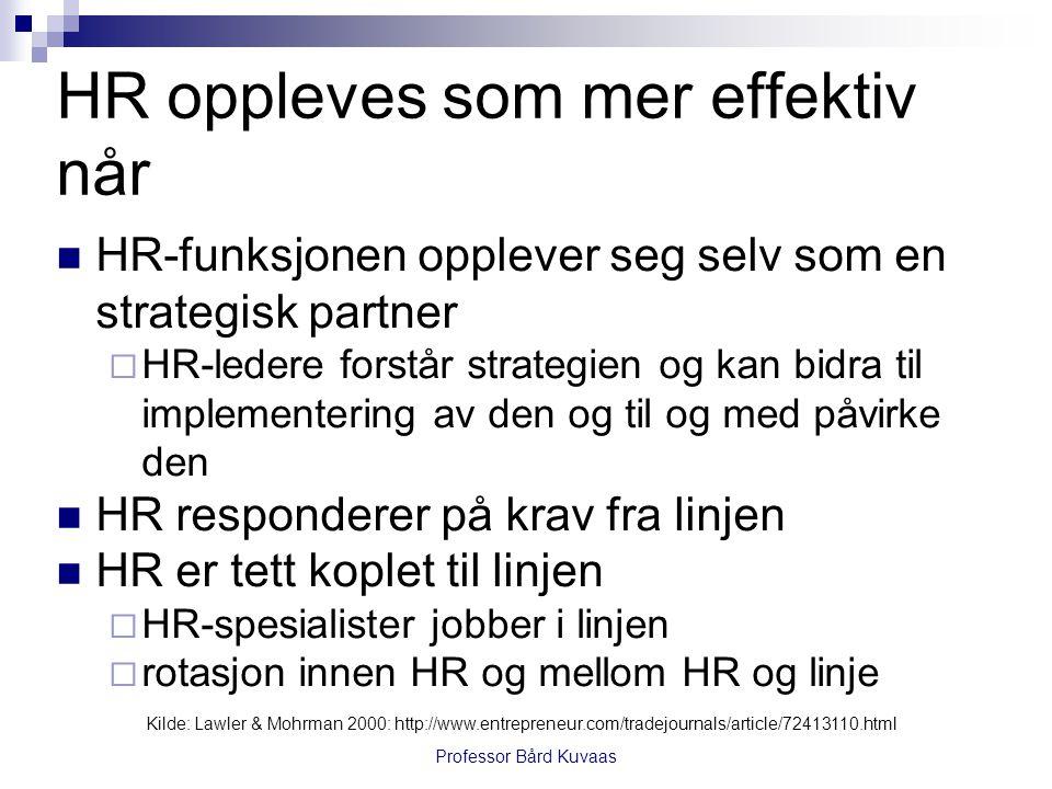 HR oppleves som mer effektiv når  HR-funksjonen opplever seg selv som en strategisk partner  HR-ledere forstår strategien og kan bidra til implement