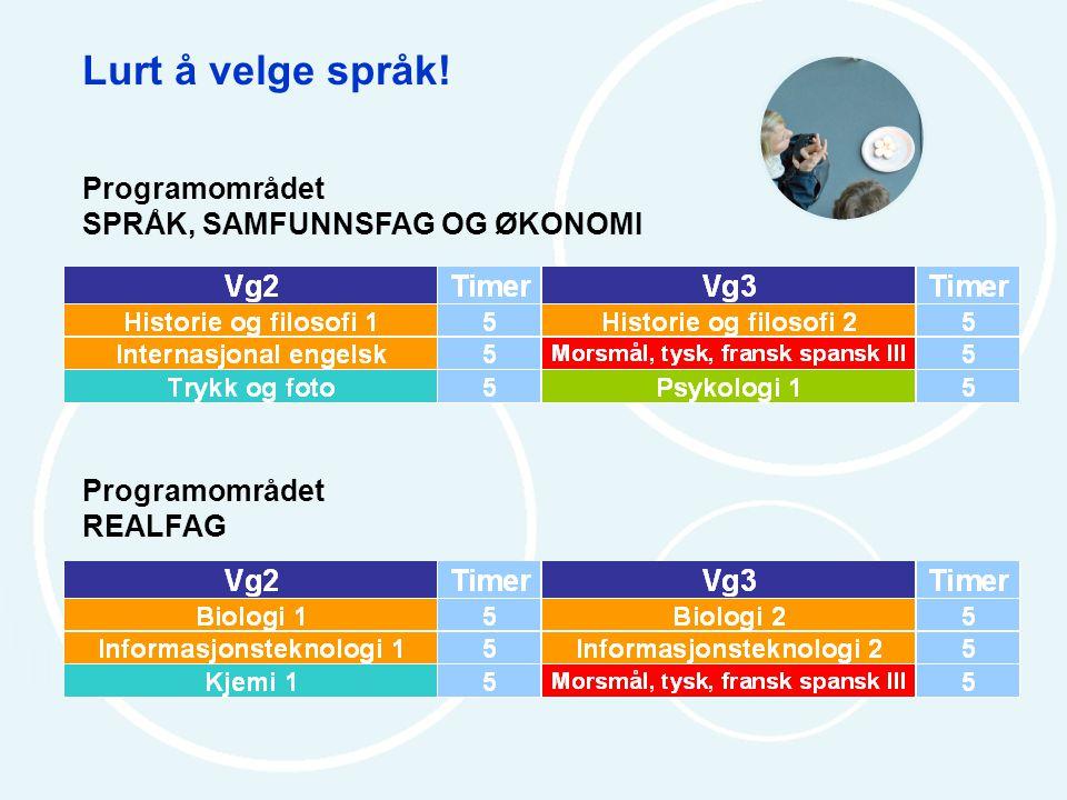 Lurt å velge språk! Programområdet SPRÅK, SAMFUNNSFAG OG ØKONOMI Programområdet REALFAG