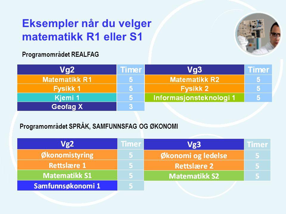 Eksempler når du velger matematikk R1 eller S1 Programområdet REALFAG Programområdet SPRÅK, SAMFUNNSFAG OG ØKONOMI