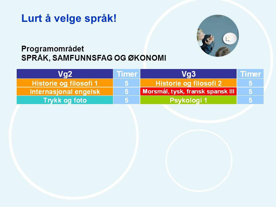 Lurt å velge språk! Programområdet SPRÅK, SAMFUNNSFAG OG ØKONOMI