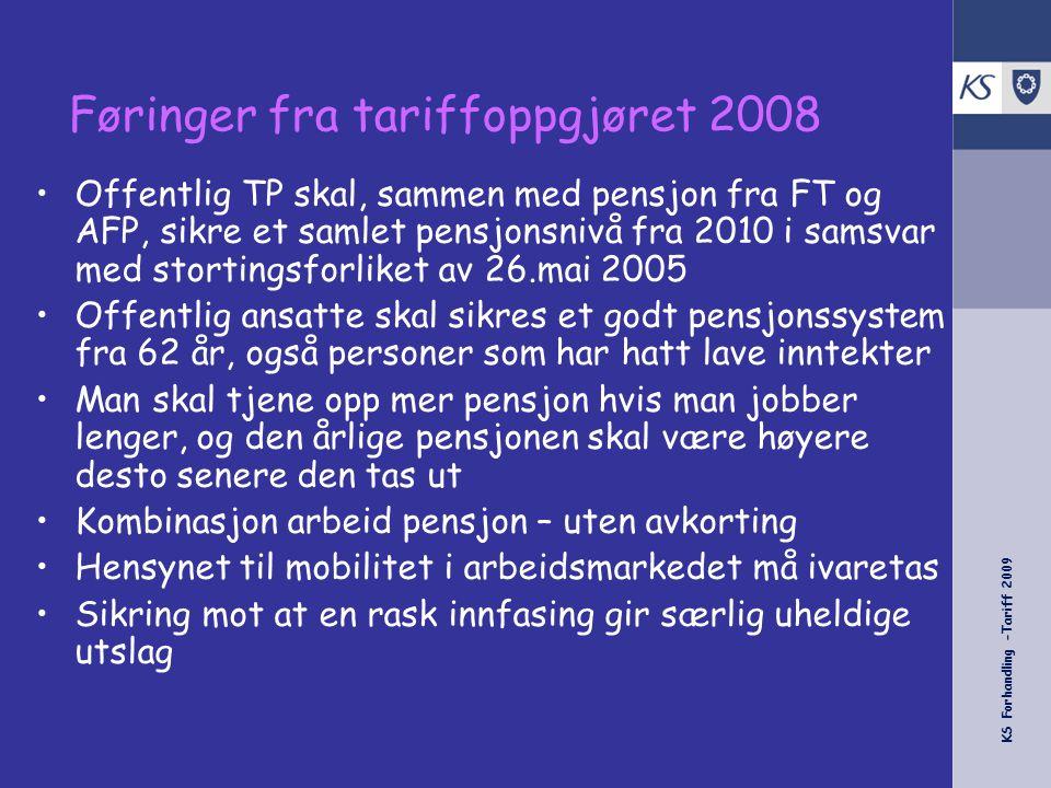KS Forhandling -Tariff 2009 Føringer fra tariffoppgjøret 2008 •Offentlig TP skal, sammen med pensjon fra FT og AFP, sikre et samlet pensjonsnivå fra 2