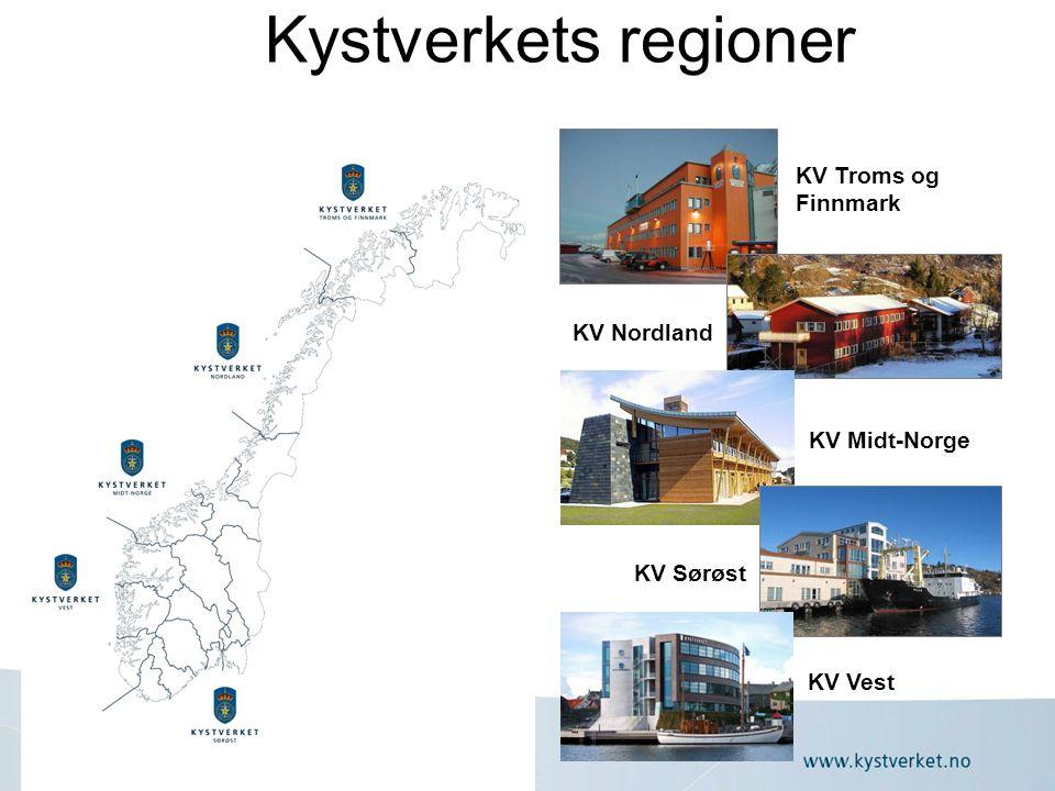 Kystverkets regioner KV Troms og Finnmark KV Nordland KV Midt-Norge KV Sørøst KV Vest