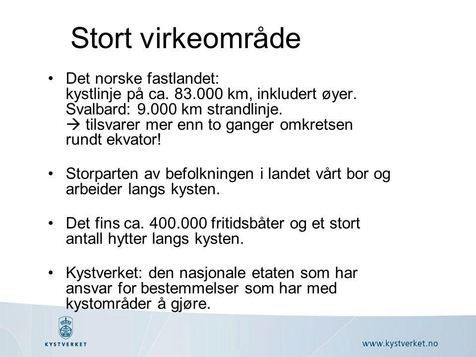 •Det norske fastlandet: kystlinje på ca. 83.000 km, inkludert øyer. Svalbard: 9.000 km strandlinje.  tilsvarer mer enn to ganger omkretsen rundt ekva