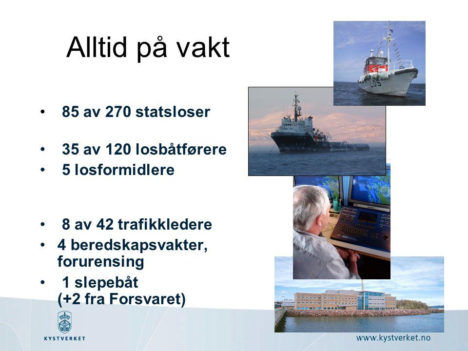 • 85 av 270 statsloser • 35 av 120 losbåtførere • 5 losformidlere • 8 av 42 trafikkledere •4 beredskapsvakter, forurensing • 1 slepebåt (+2 fra Forsva