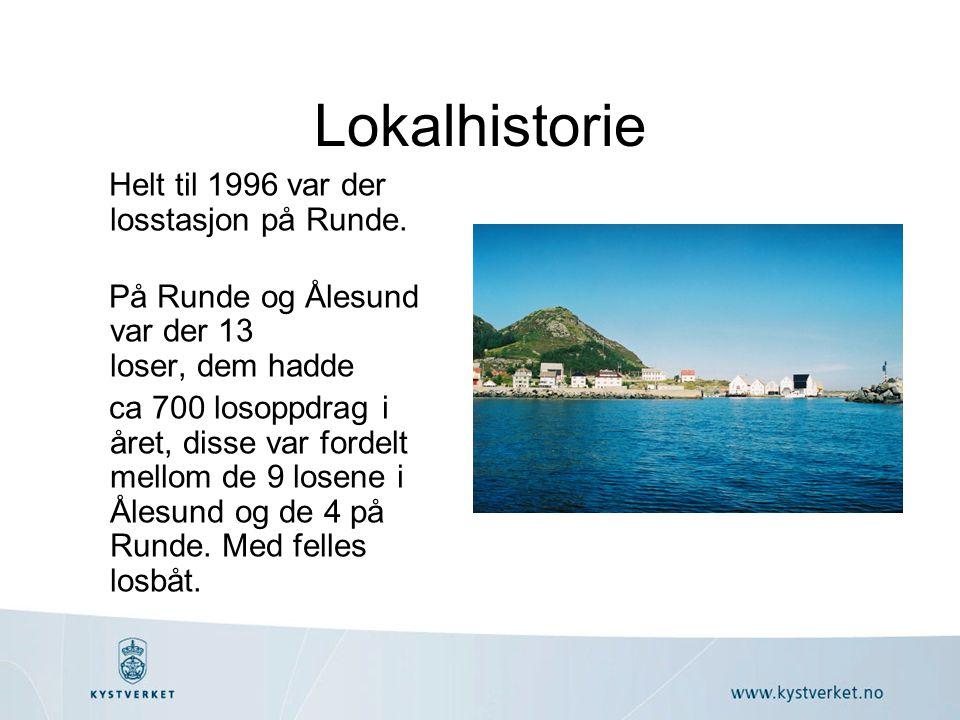 Lokalhistorie Helt til 1996 var der losstasjon på Runde. På Runde og Ålesund var der 13 loser, dem hadde ca 700 losoppdrag i året, disse var fordelt m