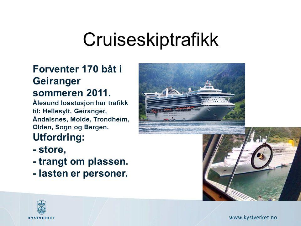 Cruiseskiptrafikk Forventer 170 båt i Geiranger sommeren 2011. Ålesund losstasjon har trafikk til: Hellesylt, Geiranger, Åndalsnes, Molde, Trondheim,