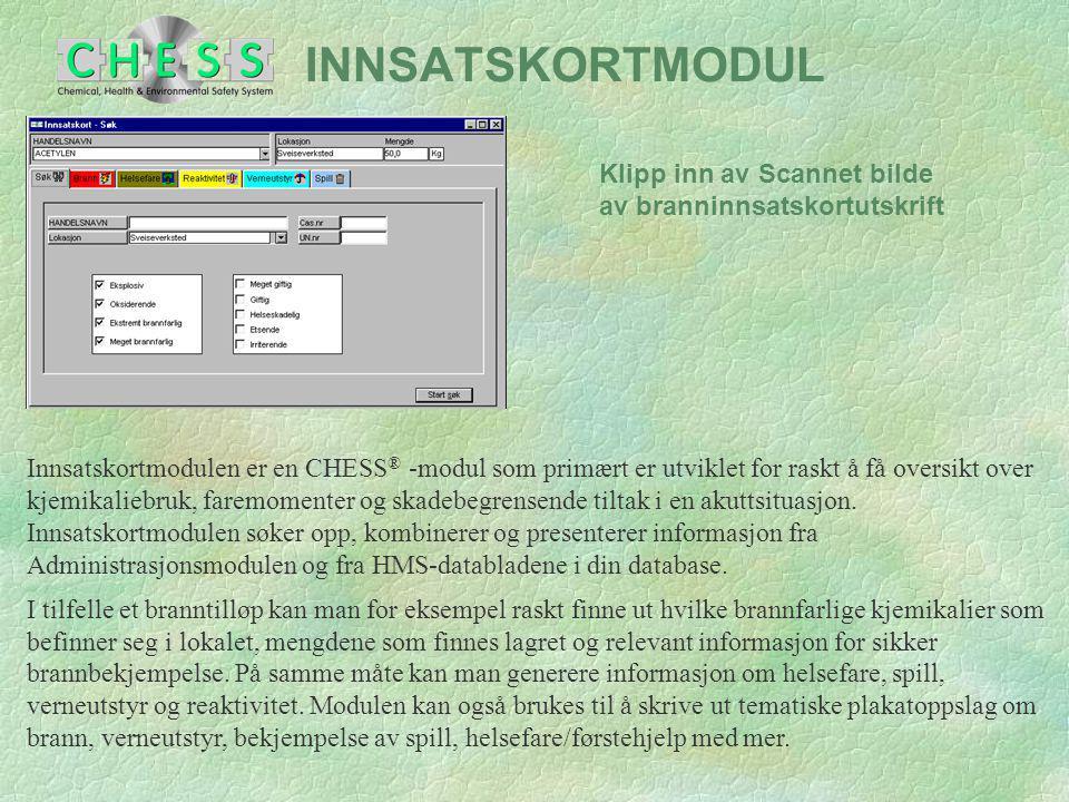 INTER- / INTRANETT MODUL Internettmodulen brukes av kjemikalieleverandører som ønsker å legge ut datablad for sine produkter, slik at kundene kan hente disse på internett.