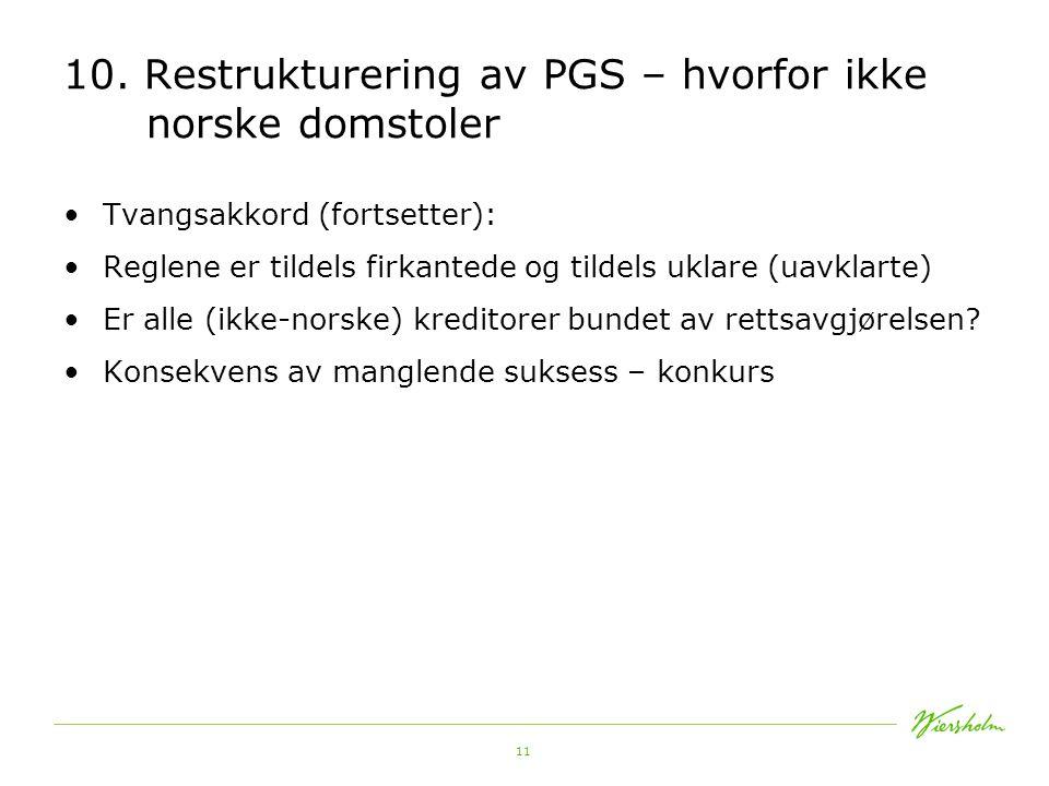 11 10. Restrukturering av PGS – hvorfor ikke norske domstoler •Tvangsakkord (fortsetter): •Reglene er tildels firkantede og tildels uklare (uavklarte)