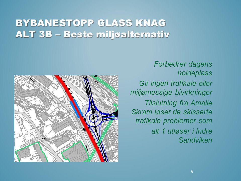 6 BYBANESTOPP GLASS KNAG ALT 3B – Beste miljøalternativ Forbedrer dagens holdeplass Gir ingen trafikale eller miljømessige bivirkninger Tilslutning fr