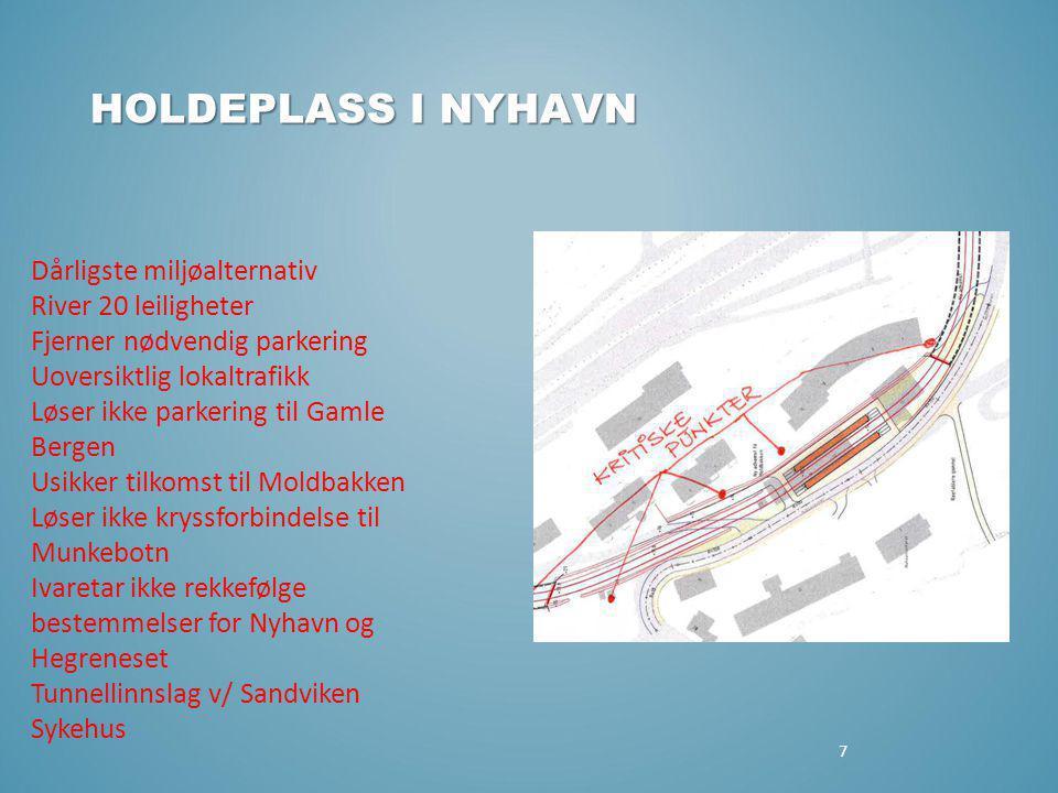 7 HOLDEPLASS I NYHAVN Dårligste miljøalternativ River 20 leiligheter Fjerner nødvendig parkering Uoversiktlig lokaltrafikk Løser ikke parkering til Ga