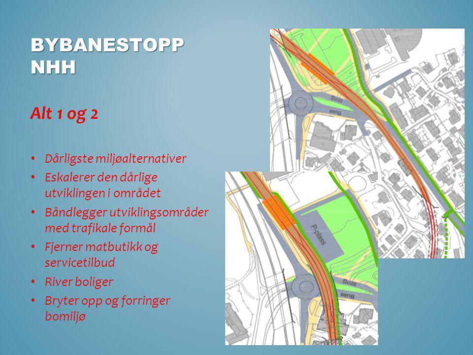 9 BYBANESTOPP NHH Alt 1 og 2 • Dårligste miljøalternativer • Eskalerer den dårlige utviklingen i området • Båndlegger utviklingsområder med trafikale