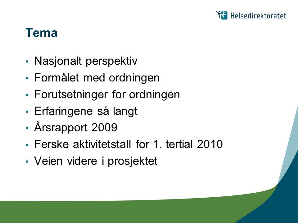 | Tema • Nasjonalt perspektiv • Formålet med ordningen • Forutsetninger for ordningen • Erfaringene så langt • Årsrapport 2009 • Ferske aktivitetstall for 1.