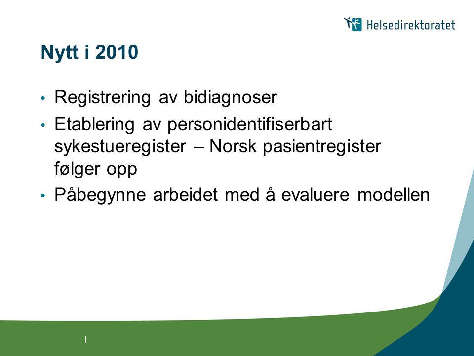 | Nytt i 2010 • Registrering av bidiagnoser • Etablering av personidentifiserbart sykestueregister – Norsk pasientregister følger opp • Påbegynne arbeidet med å evaluere modellen