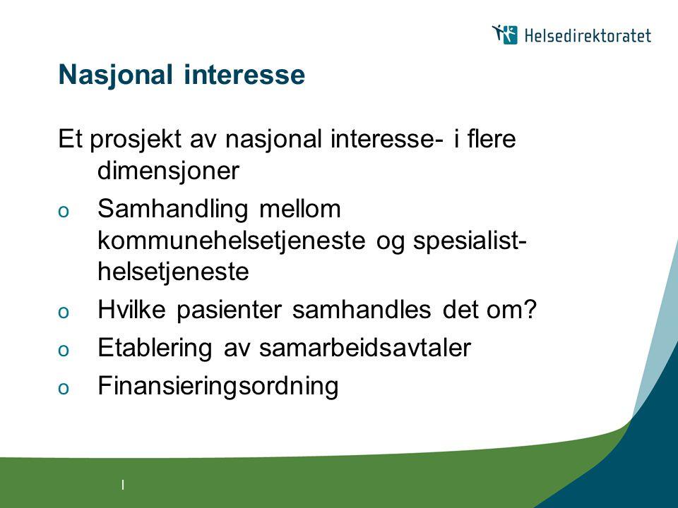 | Nasjonal interesse Et prosjekt av nasjonal interesse- i flere dimensjoner o Samhandling mellom kommunehelsetjeneste og spesialist- helsetjeneste o Hvilke pasienter samhandles det om.