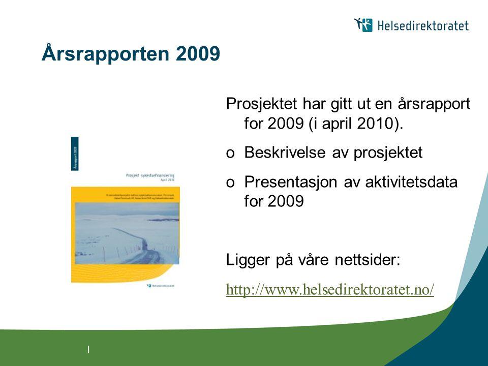 | Årsrapporten 2009 Prosjektet har gitt ut en årsrapport for 2009 (i april 2010).