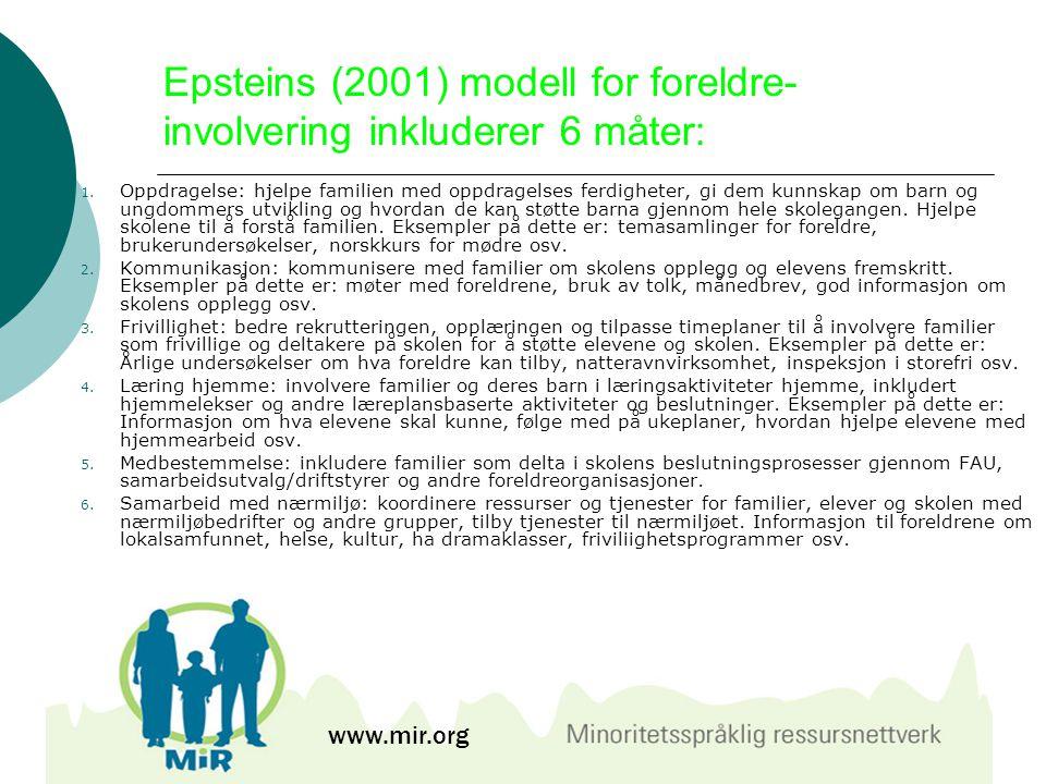 Epsteins (2001) modell for foreldre- involvering inkluderer 6 måter: 1. Oppdragelse: hjelpe familien med oppdragelses ferdigheter, gi dem kunnskap om
