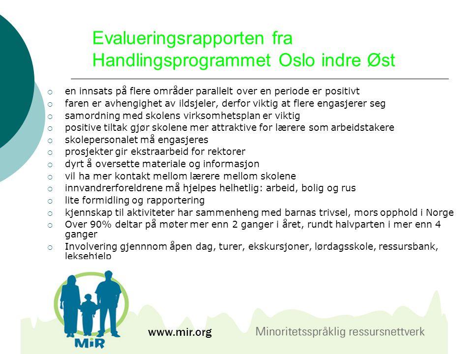 Evalueringsrapporten fra Handlingsprogrammet Oslo indre Øst  en innsats på flere områder parallelt over en periode er positivt  faren er avhengighet