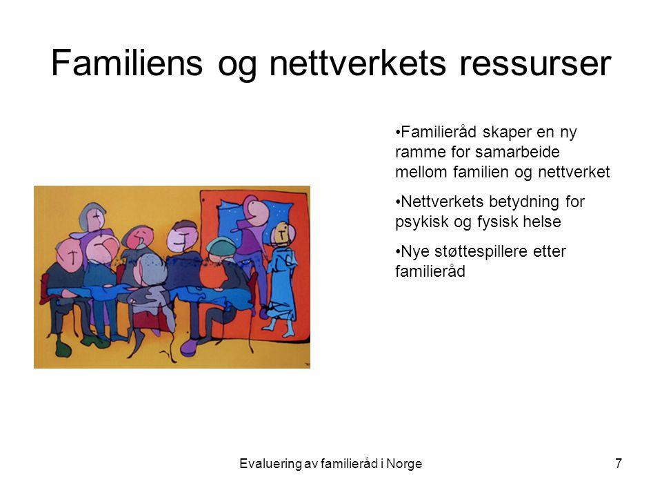 Evaluering av familieråd i Norge7 Familiens og nettverkets ressurser •Familieråd skaper en ny ramme for samarbeide mellom familien og nettverket •Nettverkets betydning for psykisk og fysisk helse •Nye støttespillere etter familieråd