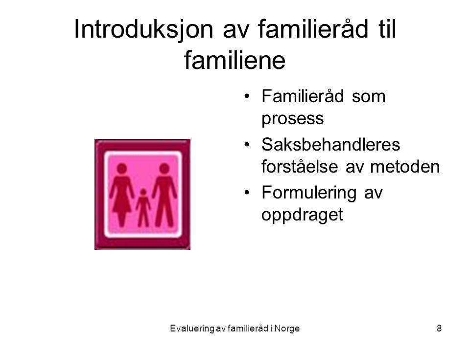 Evaluering av familieråd i Norge8 Introduksjon av familieråd til familiene •Familieråd som prosess •Saksbehandleres forståelse av metoden •Formulering av oppdraget