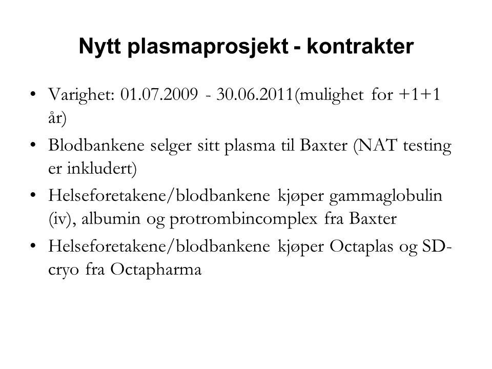 Nytt plasmaprosjekt - kontrakter •Varighet: 01.07.2009 - 30.06.2011(mulighet for +1+1 år) •Blodbankene selger sitt plasma til Baxter (NAT testing er inkludert) •Helseforetakene/blodbankene kjøper gammaglobulin (iv), albumin og protrombincomplex fra Baxter •Helseforetakene/blodbankene kjøper Octaplas og SD- cryo fra Octapharma