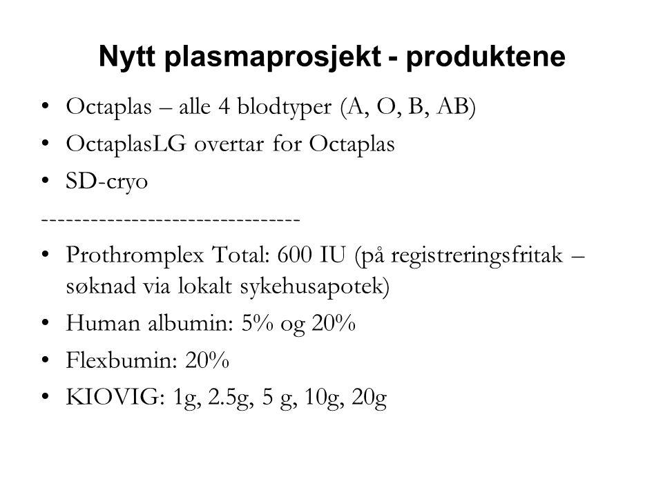Nytt plasmaprosjekt - produktene •Octaplas – alle 4 blodtyper (A, O, B, AB) •OctaplasLG overtar for Octaplas •SD-cryo -------------------------------- •Prothromplex Total: 600 IU (på registreringsfritak – søknad via lokalt sykehusapotek) •Human albumin: 5% og 20% •Flexbumin: 20% •KIOVIG: 1g, 2.5g, 5 g, 10g, 20g