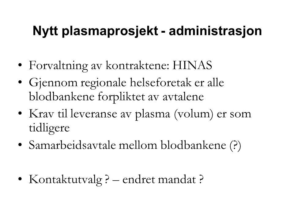 Nytt plasmaprosjekt - administrasjon •Forvaltning av kontraktene: HINAS •Gjennom regionale helseforetak er alle blodbankene forpliktet av avtalene •Krav til leveranse av plasma (volum) er som tidligere •Samarbeidsavtale mellom blodbankene (?) •Kontaktutvalg .
