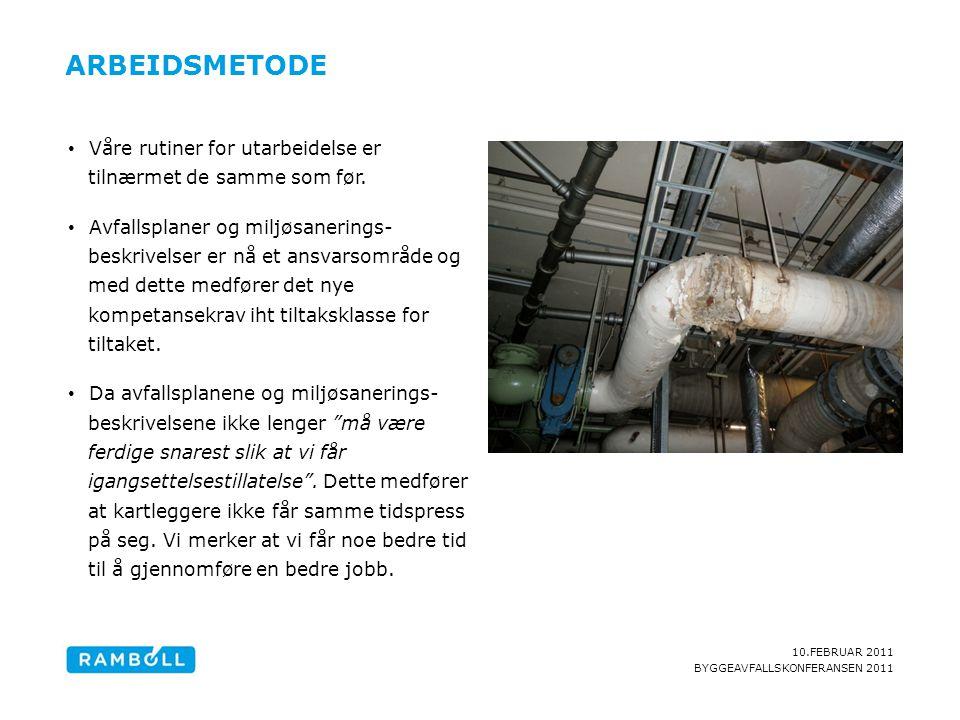 10.FEBRUAR 2011 BYGGEAVFALLSKONFERANSEN 2011 ARBEIDSMETODE Content slide, with one image • Våre rutiner for utarbeidelse er tilnærmet de samme som før.