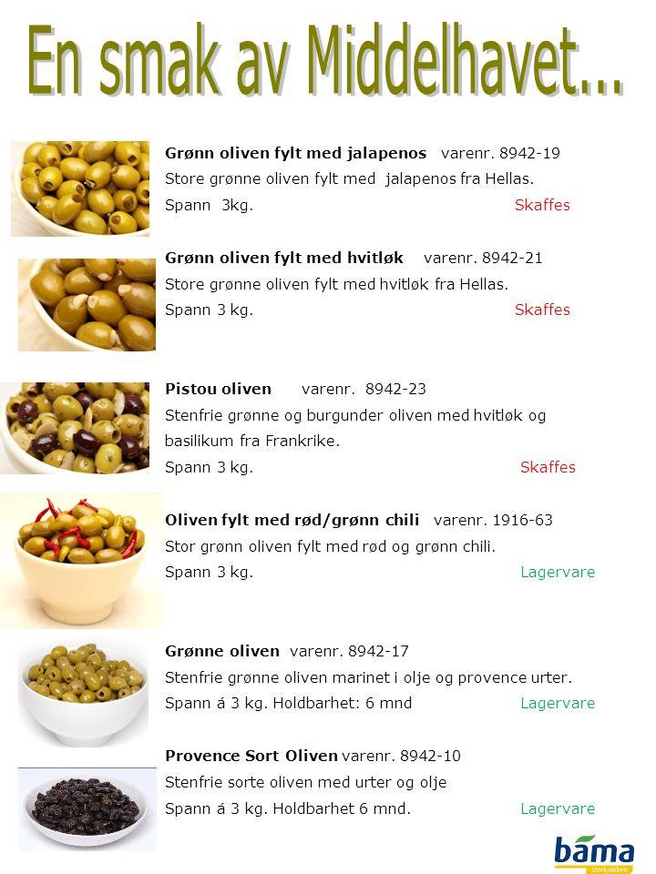 Grønn oliven fylt med jalapenos varenr. 8942-19 Store grønne oliven fylt med jalapenos fra Hellas. Spann 3kg.Skaffes Grønn oliven fylt med hvitløk var