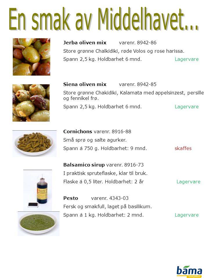 Jerba oliven mixvarenr. 8942-86 Store grønne Chalkidiki, røde Volos og rose harissa. Spann 2,5 kg. Holdbarhet 6 mnd. Lagervare Siena oliven mixvarenr.