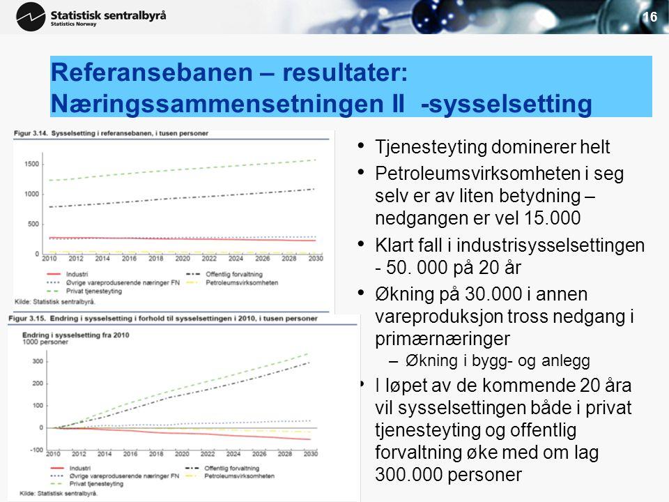 16 Referansebanen – resultater: Næringssammensetningen II -sysselsetting • Tjenesteyting dominerer helt • Petroleumsvirksomheten i seg selv er av lite