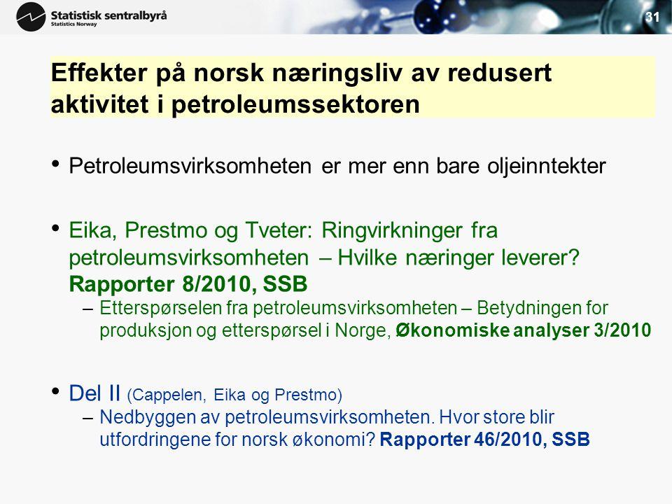 31 Effekter på norsk næringsliv av redusert aktivitet i petroleumssektoren • Petroleumsvirksomheten er mer enn bare oljeinntekter • Eika, Prestmo og T