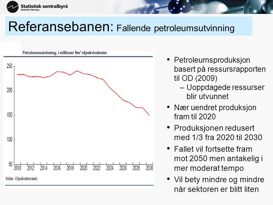 6 Etterspørselen fra petroleumsvirksomheten • Beskjeden økning i etterspørselen de første årene –Deretter svak nedgang til 2020 –Deretter økende nedgang –Fra 2020 overtar produktinnsats som største etterspørselskomponent fra petroleumsvirksomheten –Den direkte sysselsettingen blir nesten halvert (fra 40' til 25') • Aktivitetsnedgangen i leverandørindustrien vil gi rom for noe mer eksport som kan kompensere litt for nedgangen i Norge