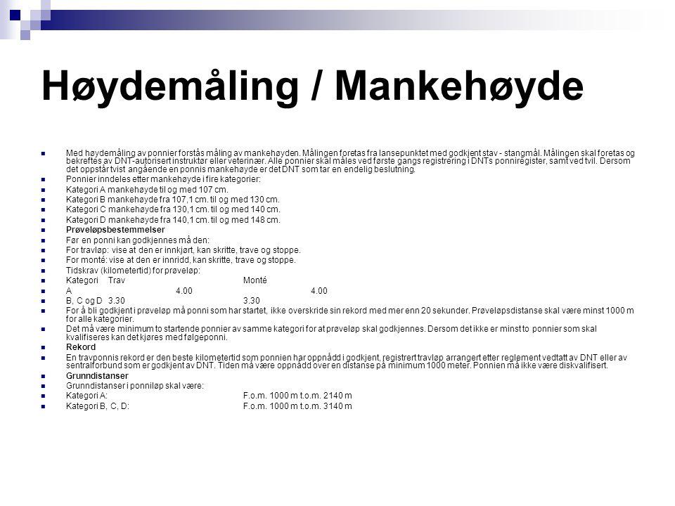 Lisensbestemmelser  Lisenstyper  Det utstedes to lisenstyper for ponnitrav:  T2 lisens for travløp med sulky  M2 lisens for monté  Krav for kjøre- / montélisenser  Generelle krav for utstedelser av ponnilisenser.