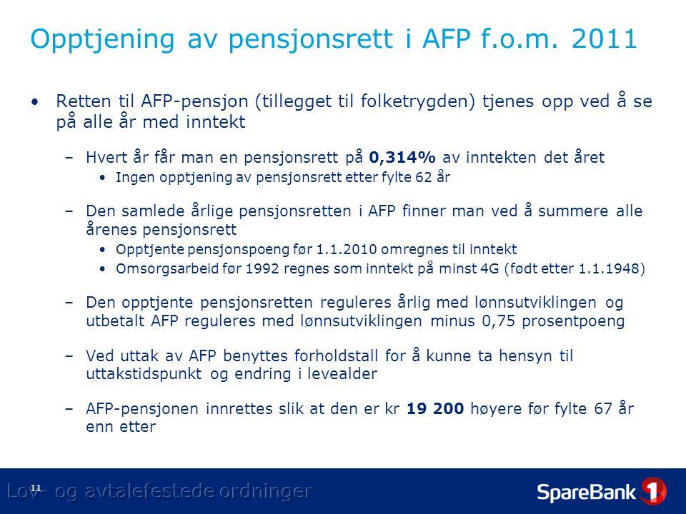 11 Opptjening av pensjonsrett i AFP f.o.m.