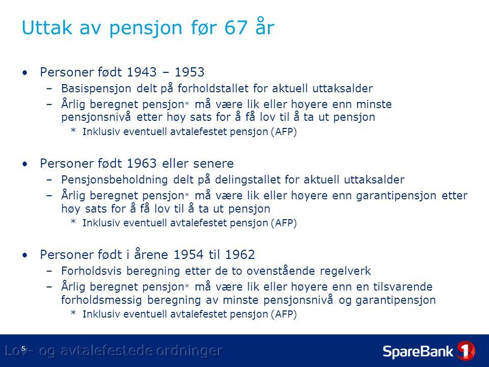 5 Uttak av pensjon før 67 år •Personer født 1943 – 1953 –Basispensjon delt på forholdstallet for aktuell uttaksalder –Årlig beregnet pensjon * må være lik eller høyere enn minste pensjonsnivå etter høy sats for å få lov til å ta ut pensjon *Inklusiv eventuell avtalefestet pensjon (AFP) •Personer født 1963 eller senere –Pensjonsbeholdning delt på delingstallet for aktuell uttaksalder –Årlig beregnet pensjon * må være lik eller høyere enn garantipensjon etter høy sats for å få lov til å ta ut pensjon *Inklusiv eventuell avtalefestet pensjon (AFP) •Personer født i årene 1954 til 1962 –Forholdsvis beregning etter de to ovenstående regelverk –Årlig beregnet pensjon * må være lik eller høyere enn en tilsvarende forholdsmessig beregning av minste pensjonsnivå og garantipensjon *Inklusiv eventuell avtalefestet pensjon (AFP)