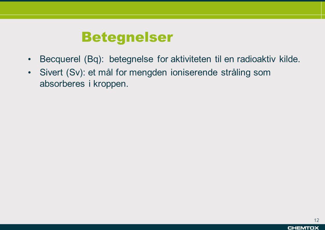 12 Betegnelser • Becquerel (Bq): betegnelse for aktiviteten til en radioaktiv kilde.