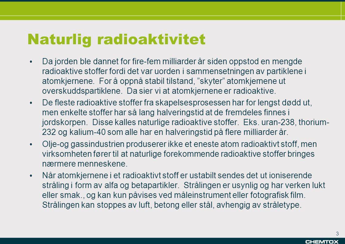 4 Stråling • Ioniserende stråling • stor nok energi til å bryte kjemiske bindinger i kroppen • f.eks.stråling fra radioaktive kilder røntgenstråling • Ikke-ioniserende stråling • mindre energi • f.eks.synlig lys mikrobølger radiobølger