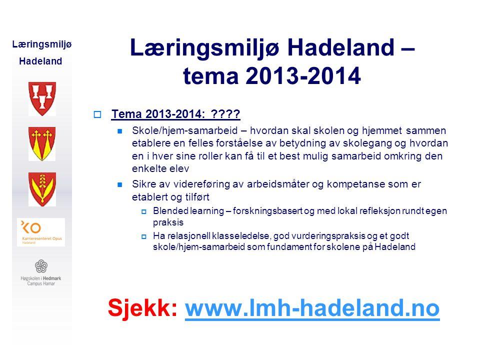 Læringsmiljø Hadeland Læringsmiljø Hadeland Læringsmiljø Hadeland – tema 2013-2014  Tema 2013-2014: ????  Skole/hjem-samarbeid – hvordan skal skolen