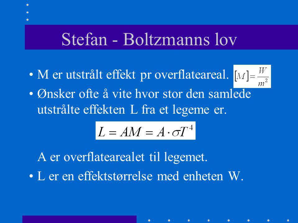 Stefan - Boltzmanns lov •M er utstrålt effekt pr overflateareal. •Ønsker ofte å vite hvor stor den samlede utstrålte effekten L fra et legeme er. A er