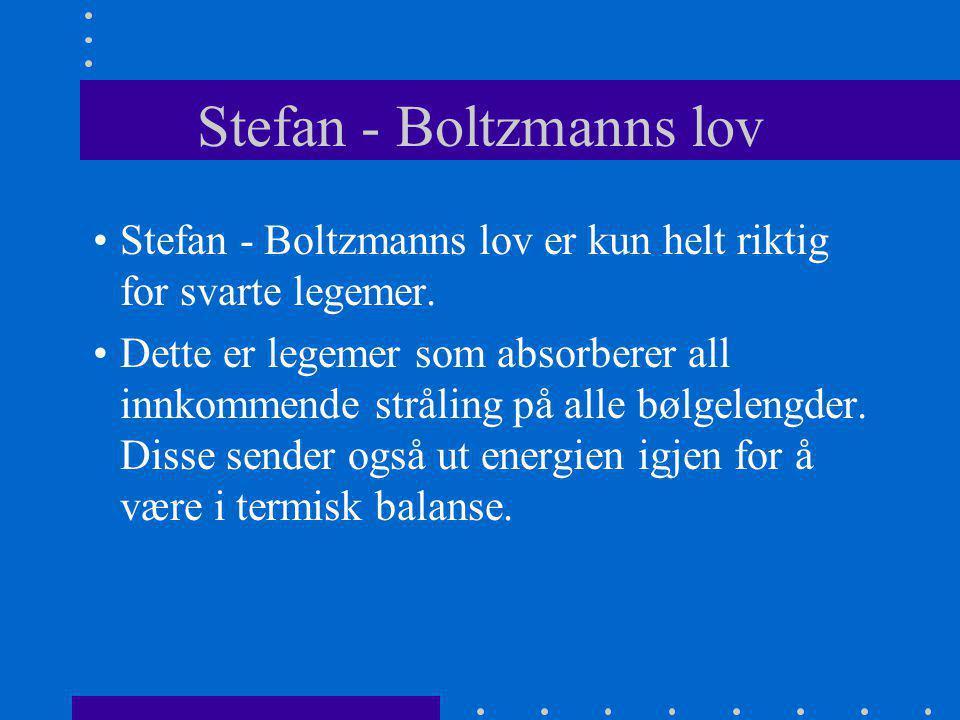 Stefan - Boltzmanns lov •Stefan - Boltzmanns lov er kun helt riktig for svarte legemer. •Dette er legemer som absorberer all innkommende stråling på a