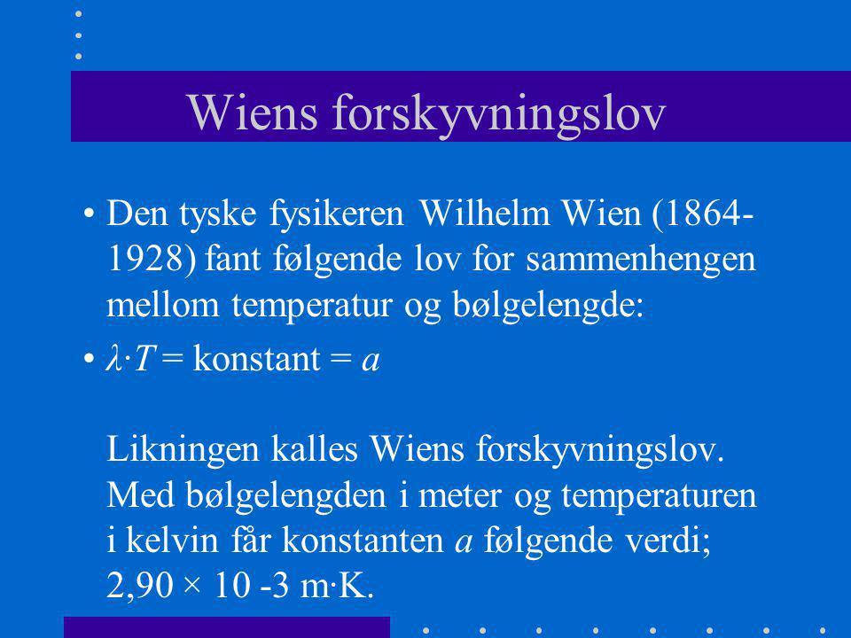 Wiens forskyvningslov •Den tyske fysikeren Wilhelm Wien (1864- 1928) fant følgende lov for sammenhengen mellom temperatur og bølgelengde: •λ·T = konst