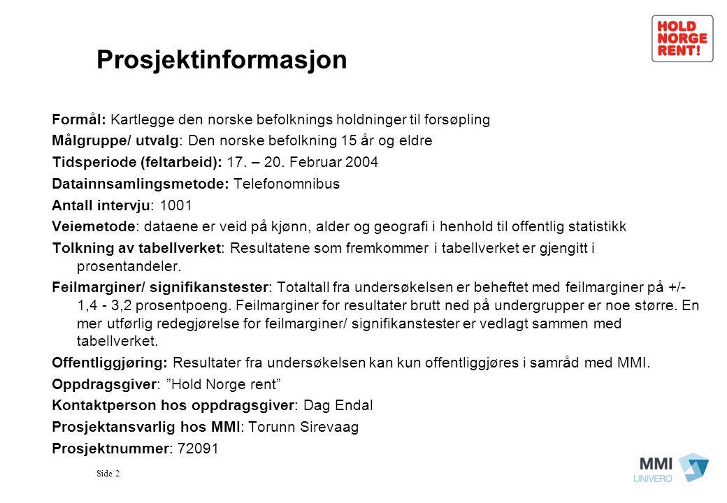 Side 2 Prosjektinformasjon Formål: Kartlegge den norske befolknings holdninger til forsøpling Målgruppe/ utvalg: Den norske befolkning 15 år og eldre