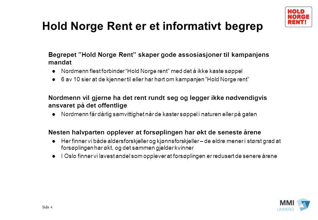 """Side 4 Hold Norge Rent er et informativt begrep Begrepet """"Hold Norge Rent"""" skaper gode assosiasjoner til kampanjens mandat  Nordmenn flest forbinder"""