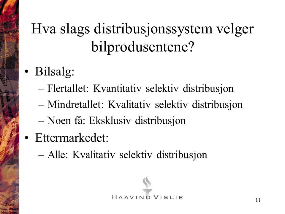 11 Hva slags distribusjonssystem velger bilprodusentene? •Bilsalg: –Flertallet: Kvantitativ selektiv distribusjon –Mindretallet: Kvalitativ selektiv d