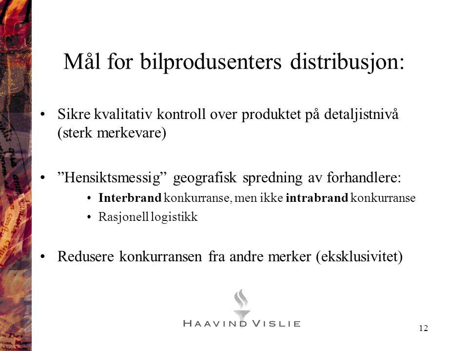 """12 Mål for bilprodusenters distribusjon: •Sikre kvalitativ kontroll over produktet på detaljistnivå (sterk merkevare) •""""Hensiktsmessig"""" geografisk spr"""